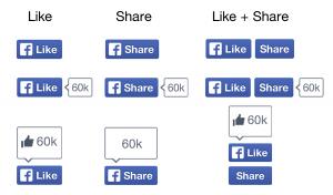 noi butoane Facebook Like si Share